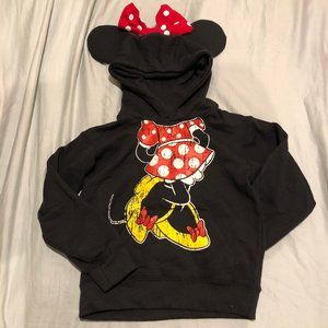 NWOT Girls XS Minnie Mouse Hoodie with Bow on Top